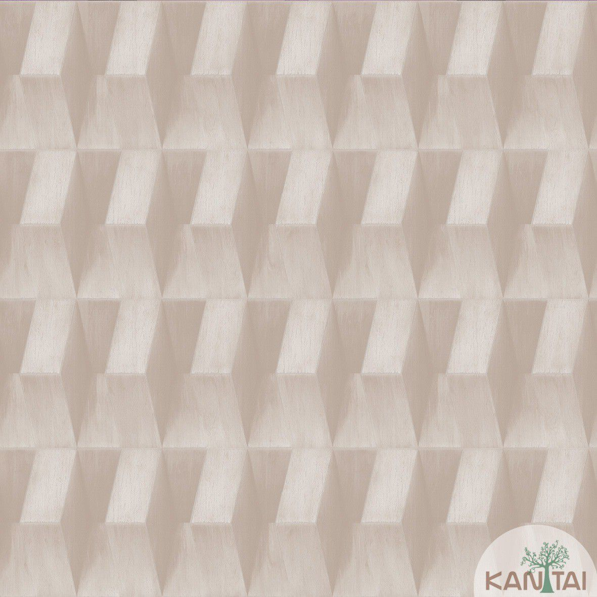 Papel de Parede  Kan Tai  Vinilico Coleção Neonature III 3D Geométrico Marrom Claro, Bege
