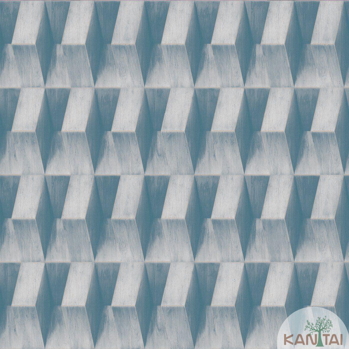 Papel de Parede   Kan Tai  Vinilico Coleção Neonature III 3D Geométrico Tons de Azul, Creme