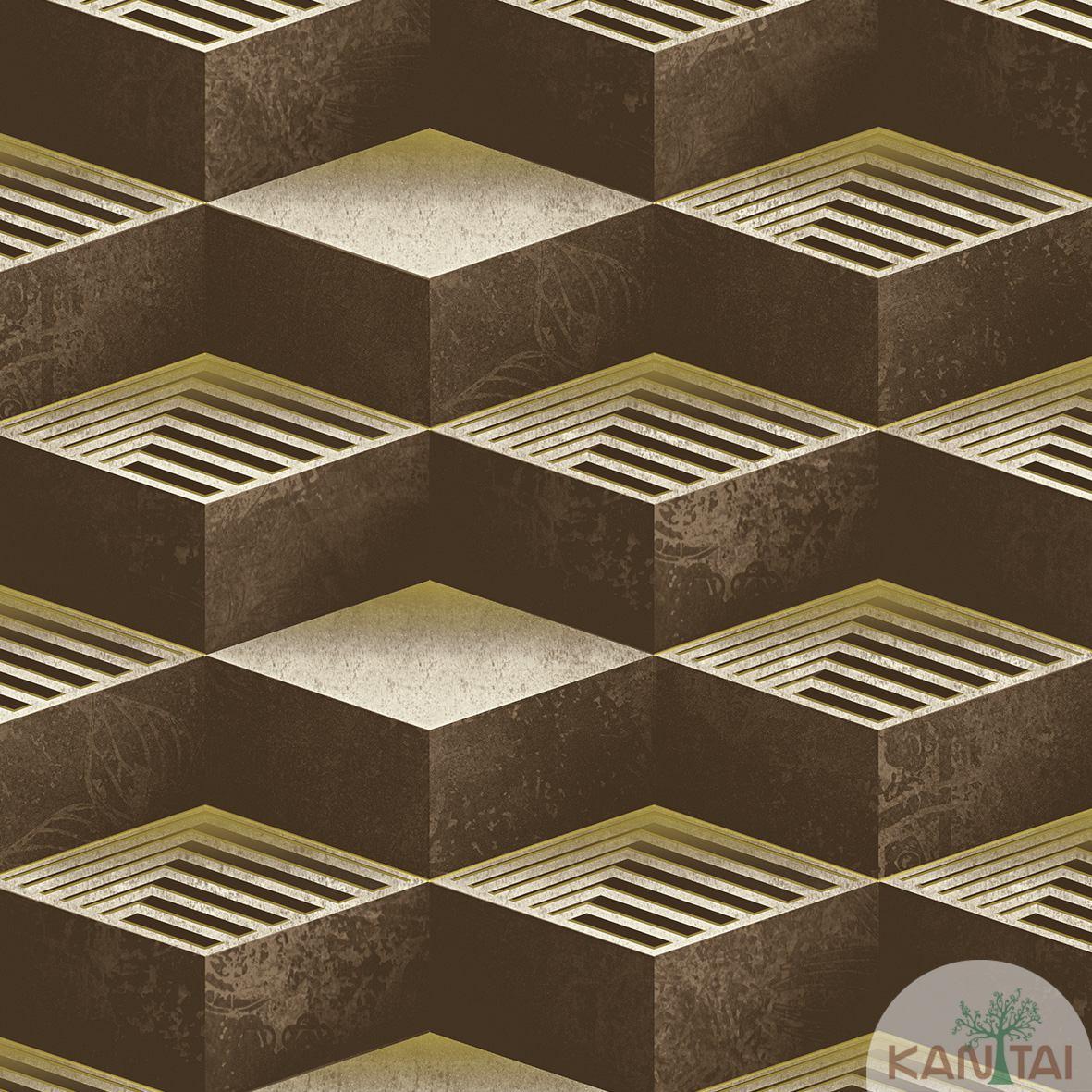 Papel de Parede  Kan Tai  Vinilico Coleção Neonature III 3D Geométrico Marrom escuro, Dourado, Bege