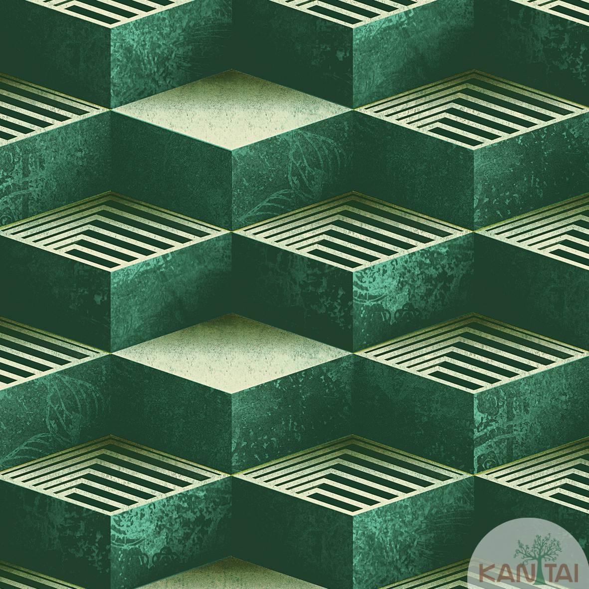Papel de Parede  Kan Tai  Vinilico Coleção Neonature III Geométrico Dourado, Bege, Azul