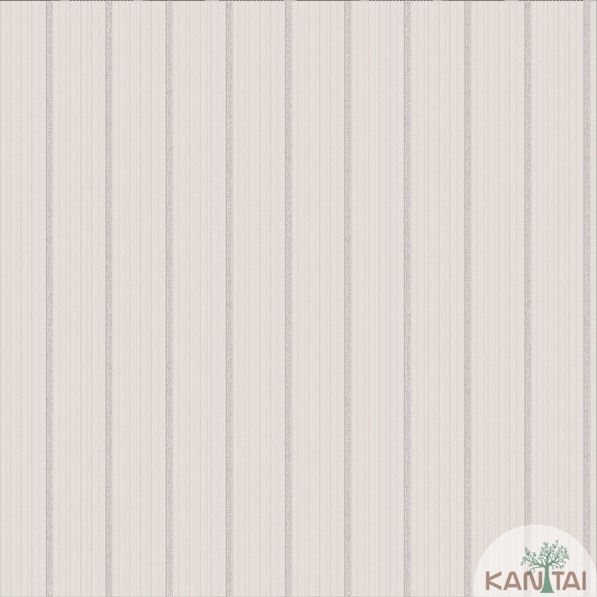 Papel de Parede   Kan Tai  Vinilico Coleção Neonature III Listrado Bege, Cinza, Prata