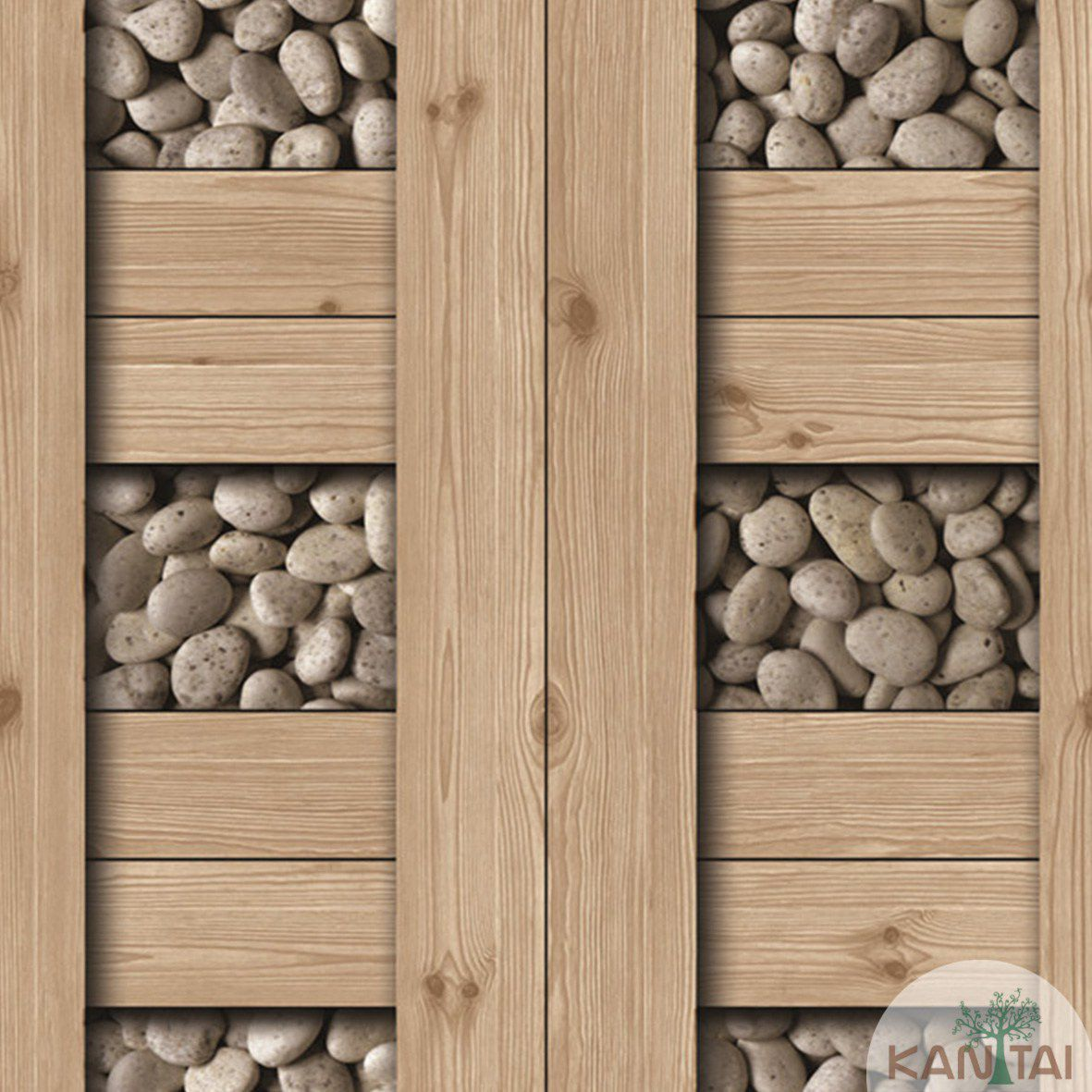 Papel de Parede  Kan Tai  Vinilico Coleção Neonature III 3D Tábuas, Pedras, Marrom Claro, Branco