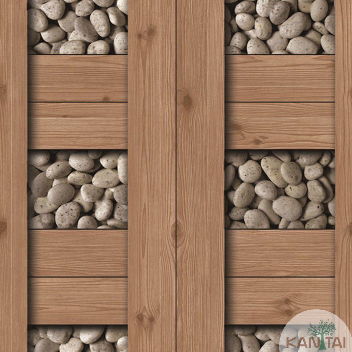Papel de Parede  Kan Tai  Vinilico Coleção Neonature III Tábuas, Pedras Marrom, Branco