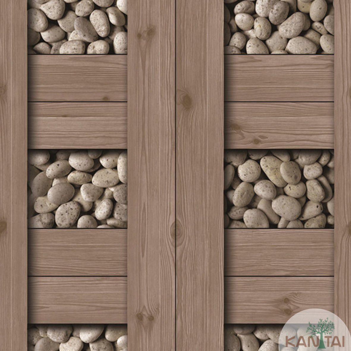 Papel de Parede   Kan Tai  Vinilico Coleção Neonature III Pedras, Tábuas Marrom Médio, Branco