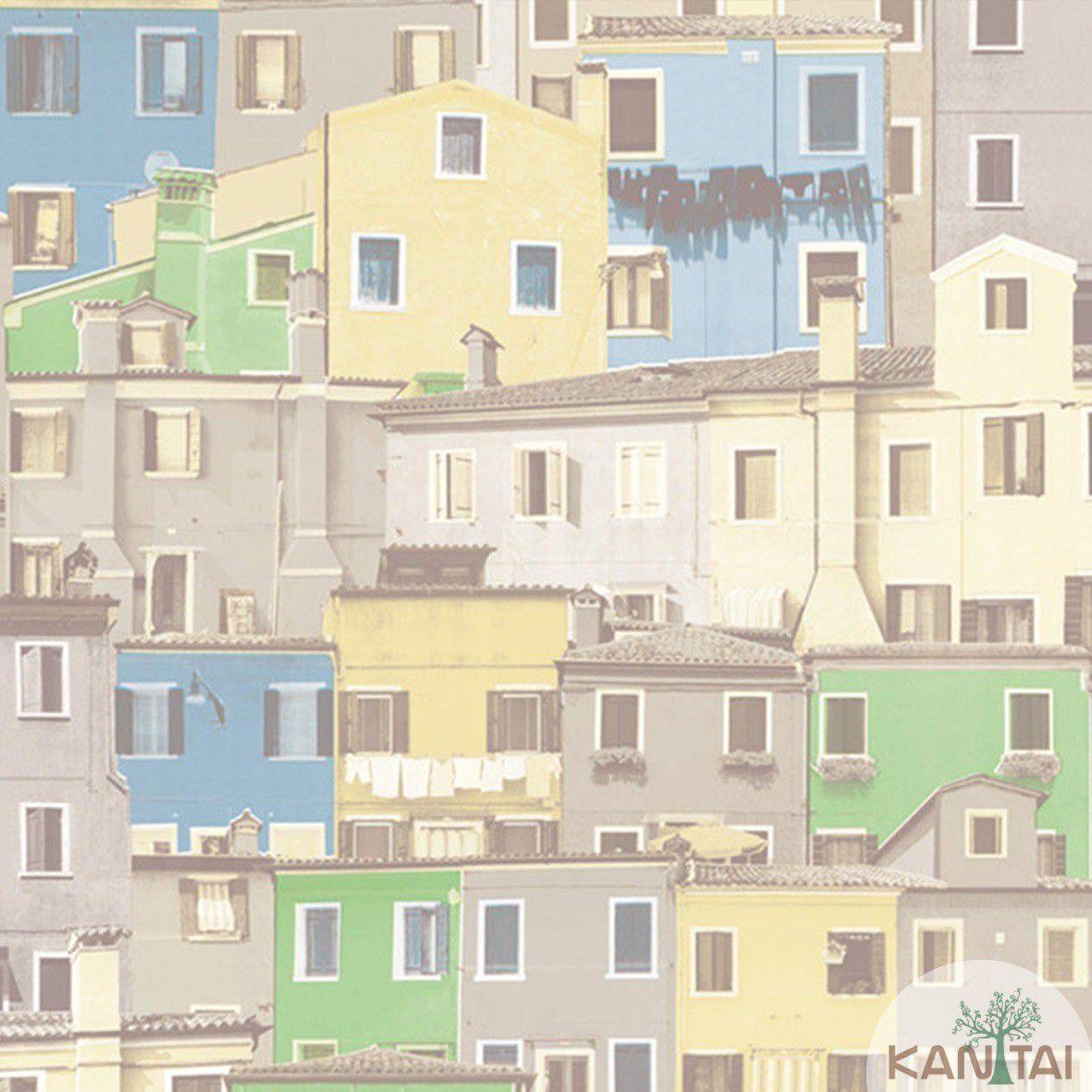 Papel de Parede  Vinilico Kan Tai Coleção Neonature III 3D Casas Cinza, Verde, Azul, Amarelo