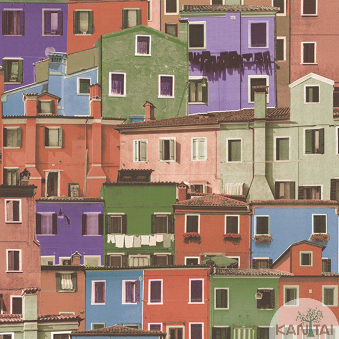 Papel de Parede  Vinilico Kan Tai Coleção Neonature III 3D Casas Vermelho, Verde, Azul