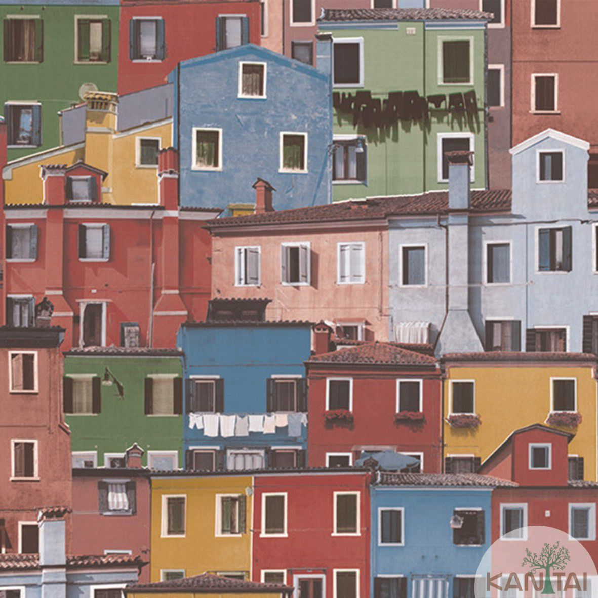 Papel de Parede  Vinilico Kan Tai Coleção Neonature III 3D Casas Azul, Roxo, Amarelo, Verde