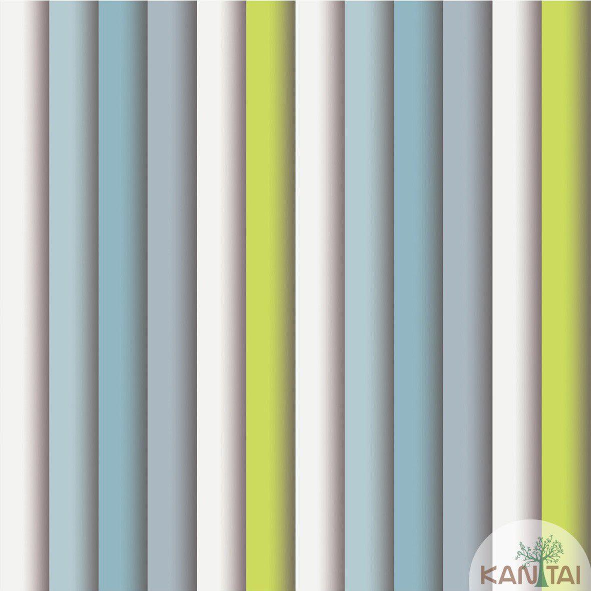 Papel de Parede  Kan Tai Vinilico Coleção Style Listras Azul, Verde, Cinza
