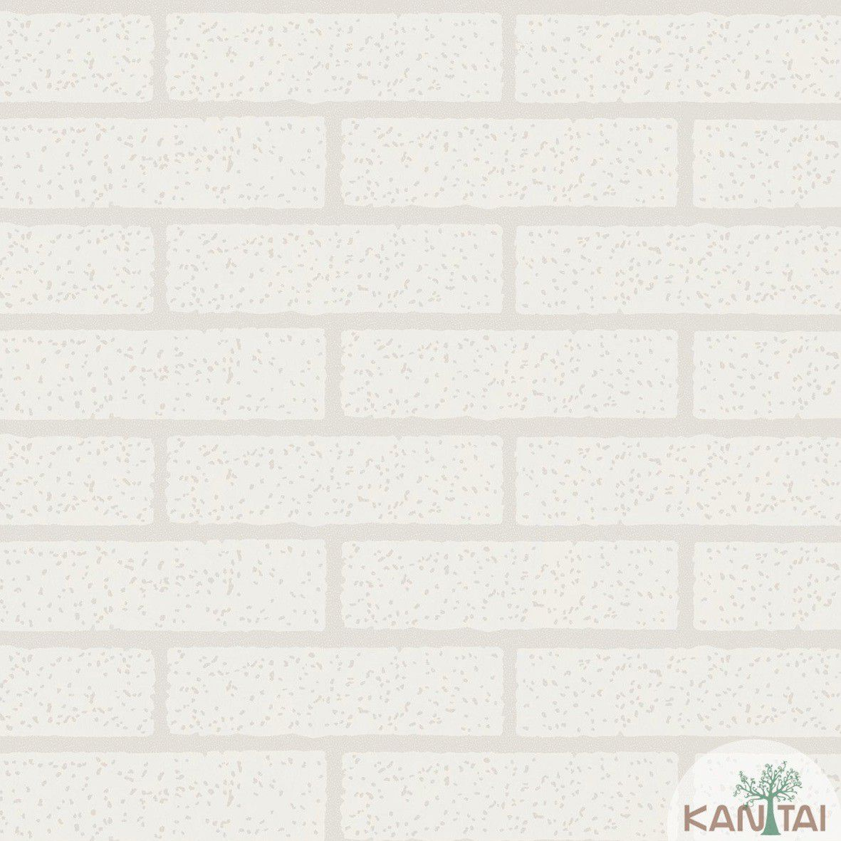 Papel de parede Kan Tai  Vinílico Coleção Style Tijolo Branco, Rejunte cinza