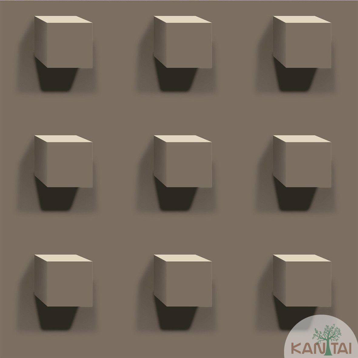 Papel de Parede Kan Tai Vinilico Coleção Style Geométrico 3d Marrom