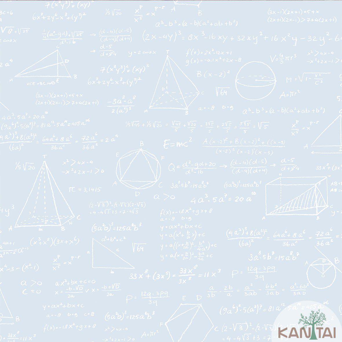 Papel de Parede  Kantai Vinilico Coleção Style Fórmulas Matemáticas Azul Claro, Branco