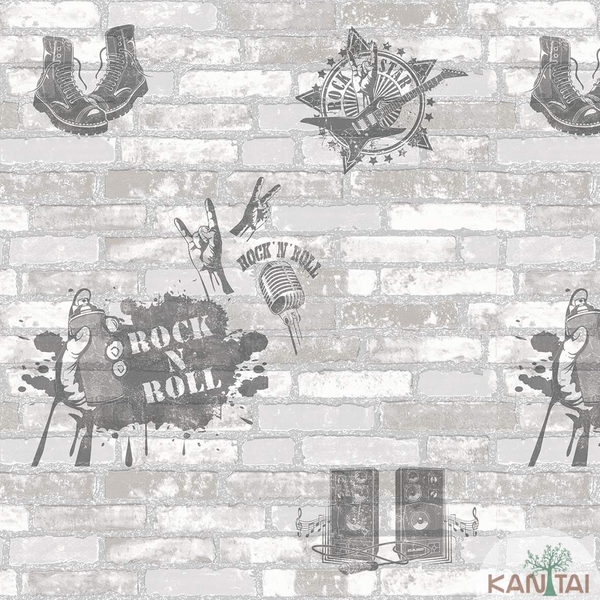 Papel de Parede  Kan Tai Vinilico Lavável Coleção Style Tijolos Cinza