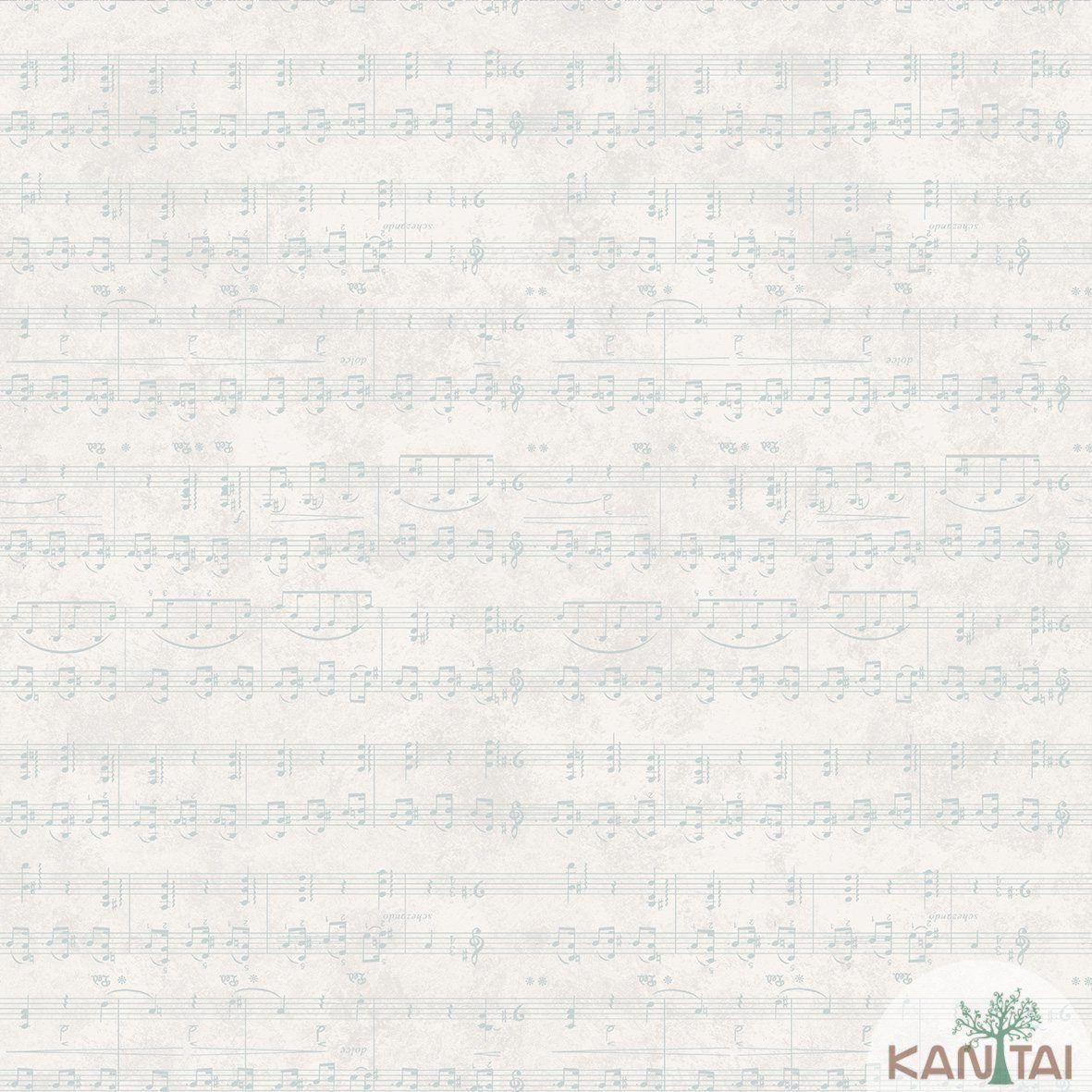 Papel de Parede   Kan Tai Vinilico Coleção Style Notas Musicais Marfim, Cinza