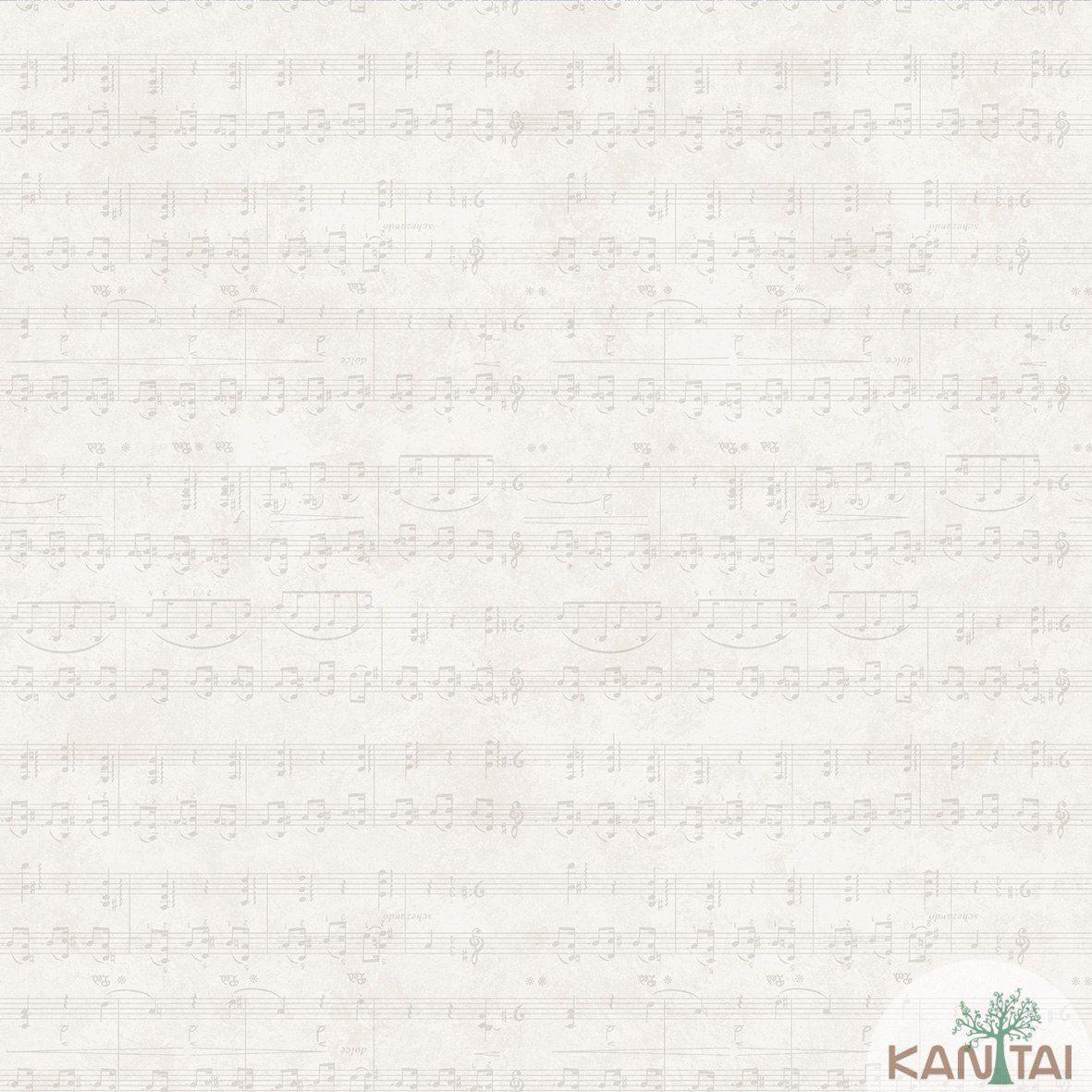 Papel de Parede   Kan Tai Vinilico Coleção Style Notas Musicais Creme, Cinza Claro