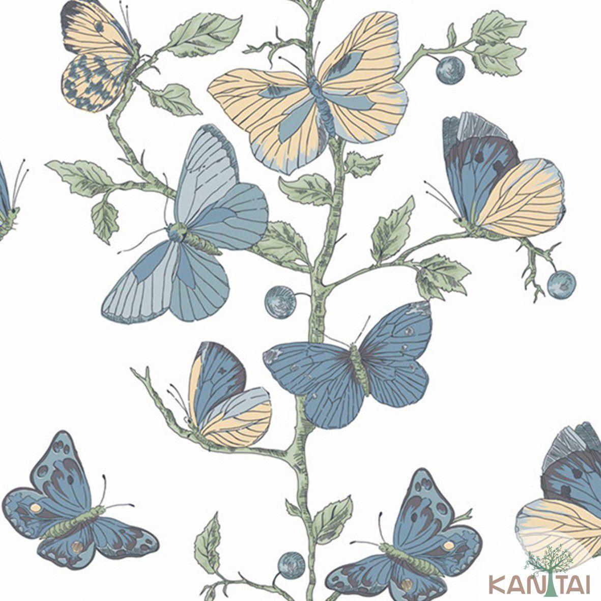 Papel de Parede   Kan Tai Vinilico Coleção Style Borboletas Marfim, Verde, Azul, Amarelo