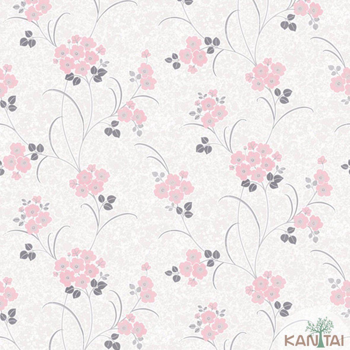 Papel de Parede  Kan Tai Vinilico Coleção Style Floral Marfim, Rosa, Cinza