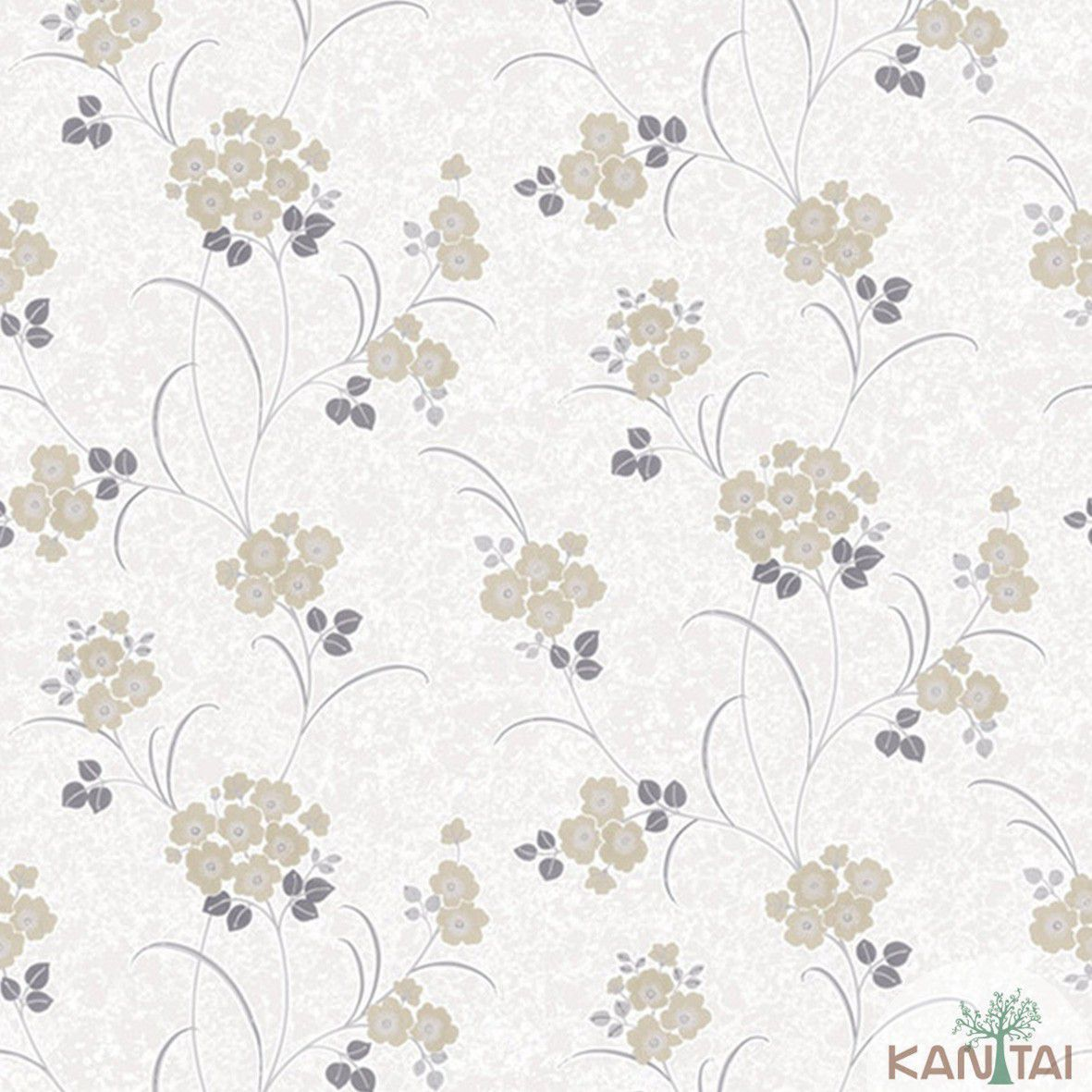 Papel de Parede   Kan Tai Vinilico Coleção Style Floral Creme, Marrom, Cinza