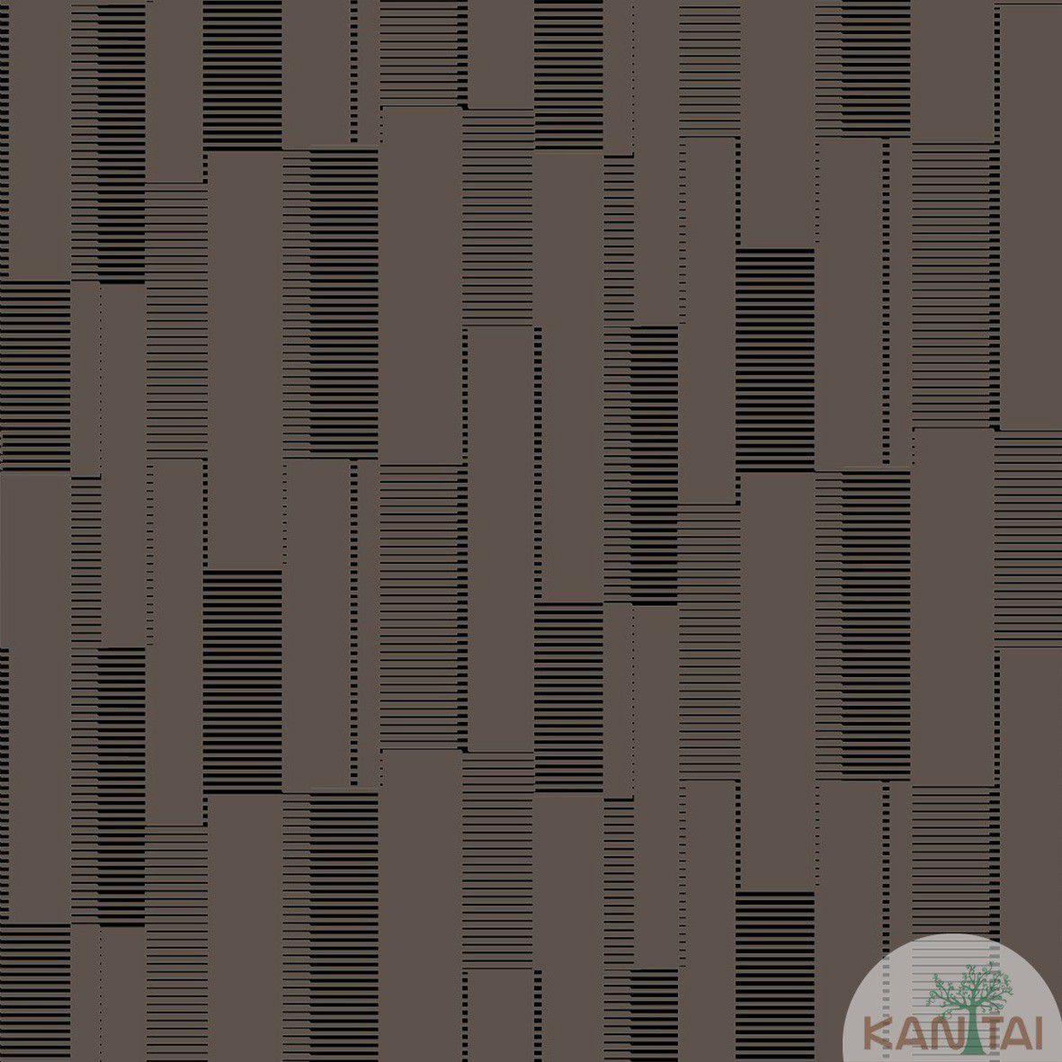 Papel de Parede   Kan Tai Vinilico Coleção Style Geométrico Bege, Preto