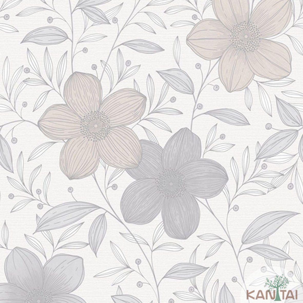 Papel de Parede   Kan Tai Vinilico Coleção Style Floral Tons de Marfim