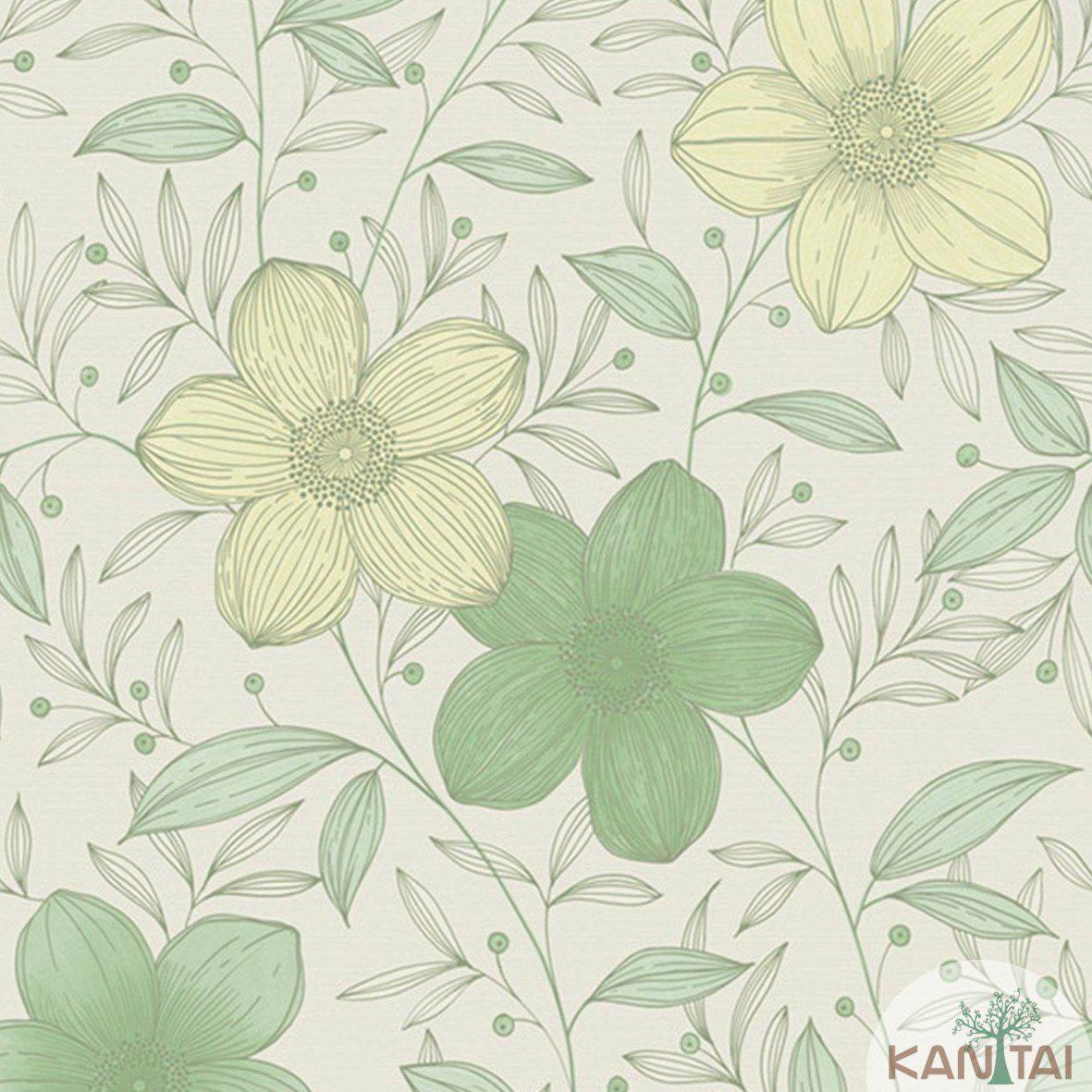 Papel de Parede   Kan Tai Vinilico Coleção Style Floral Creme, Verde, Amarelo