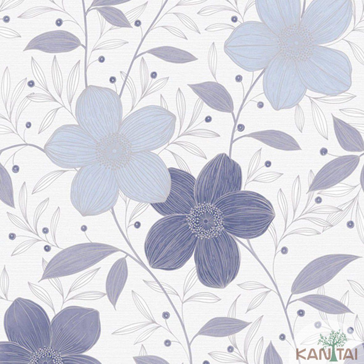 Papel de Parede  Kan Tai Vinilico Coleção Style Floral Marfim, Azul, Marrom