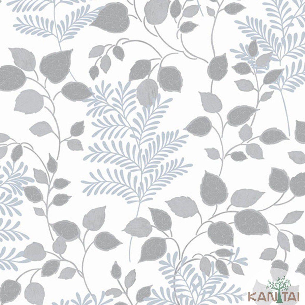 Papel de Parede   Kan Tai Vinilico Coleção Style Folhagem Marfim,Prata, Cinza
