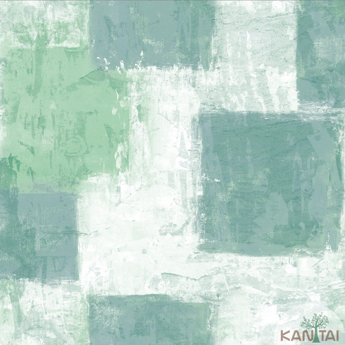 Papel de Parede  Kan Tai Vinilico Coleção Style Aquarela Tons de Bege, Verde