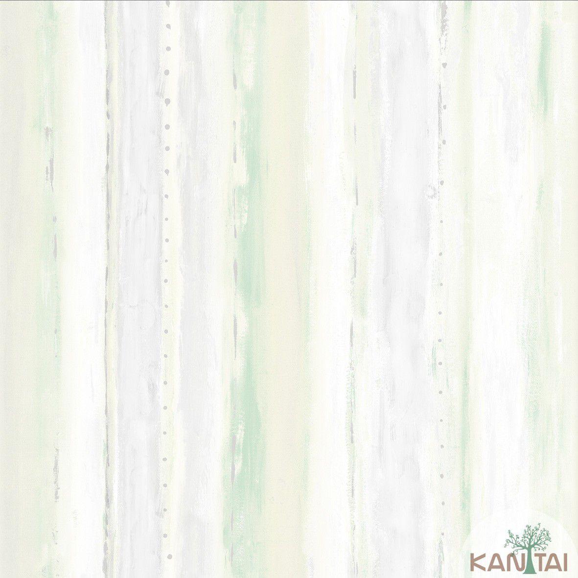 Papel de Parede  Kan Tai Vinilico Coleção Style Textura Aquarelado Cinza, Creme, Verde