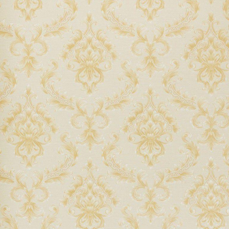 Papel de Parede Paris Decor Vinílico Coleção Paris Damask Palha, Dourado