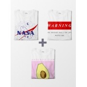 Combo Camisetas Tumblr Girl - Avocado Club + Warning + Nasa