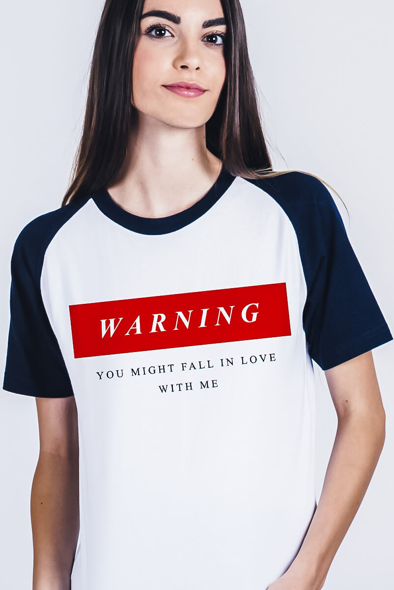 Camiseta Raglan  Warning  - Doiska