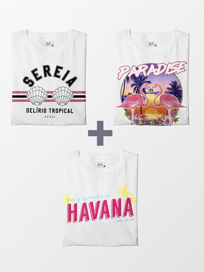Combo Camisetas Folia Tropical - Paradise + Delírio Tropical + Havana