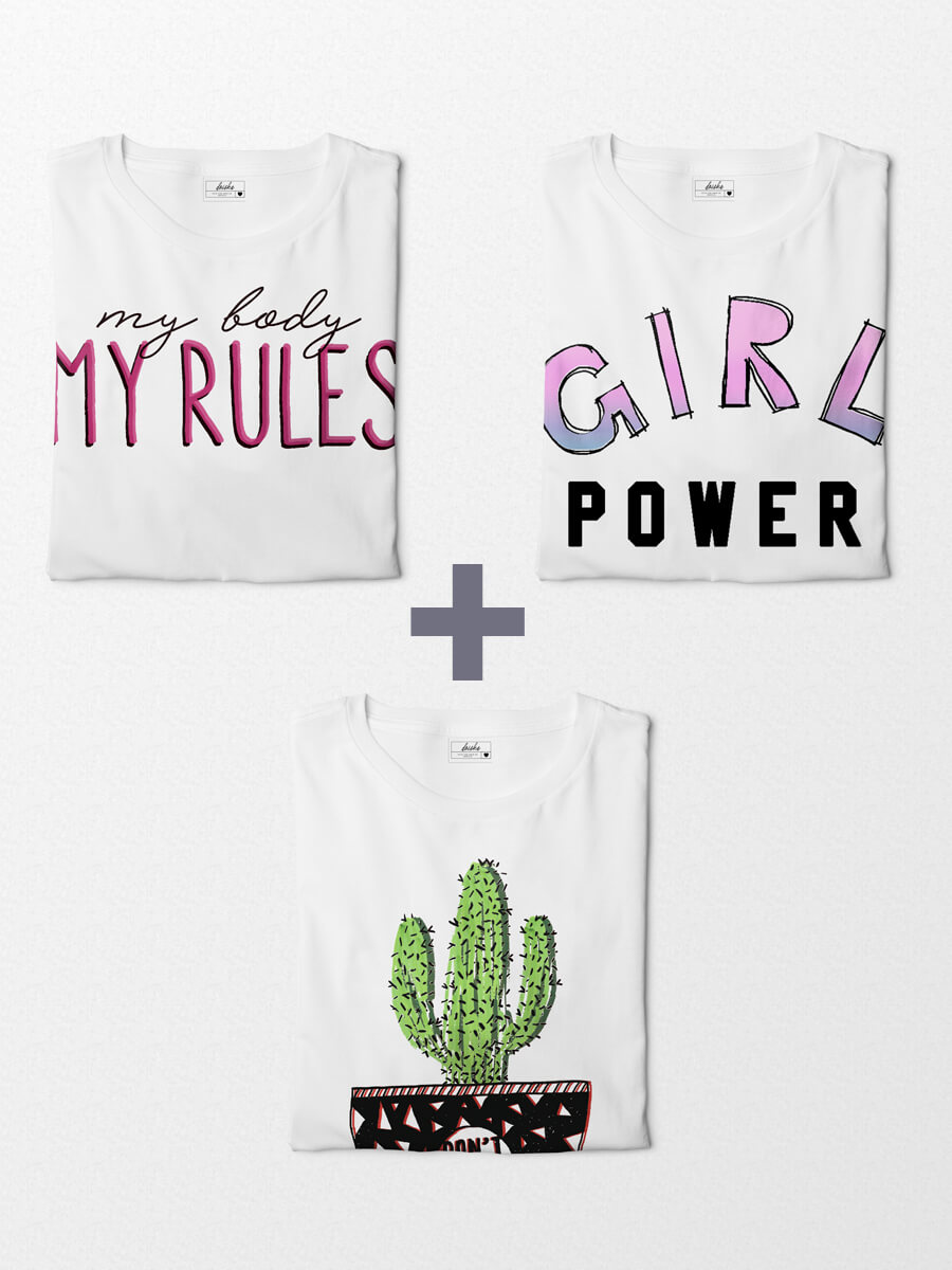 Combo Camisetas Girl Power + My Rules + Don't Touch Me!