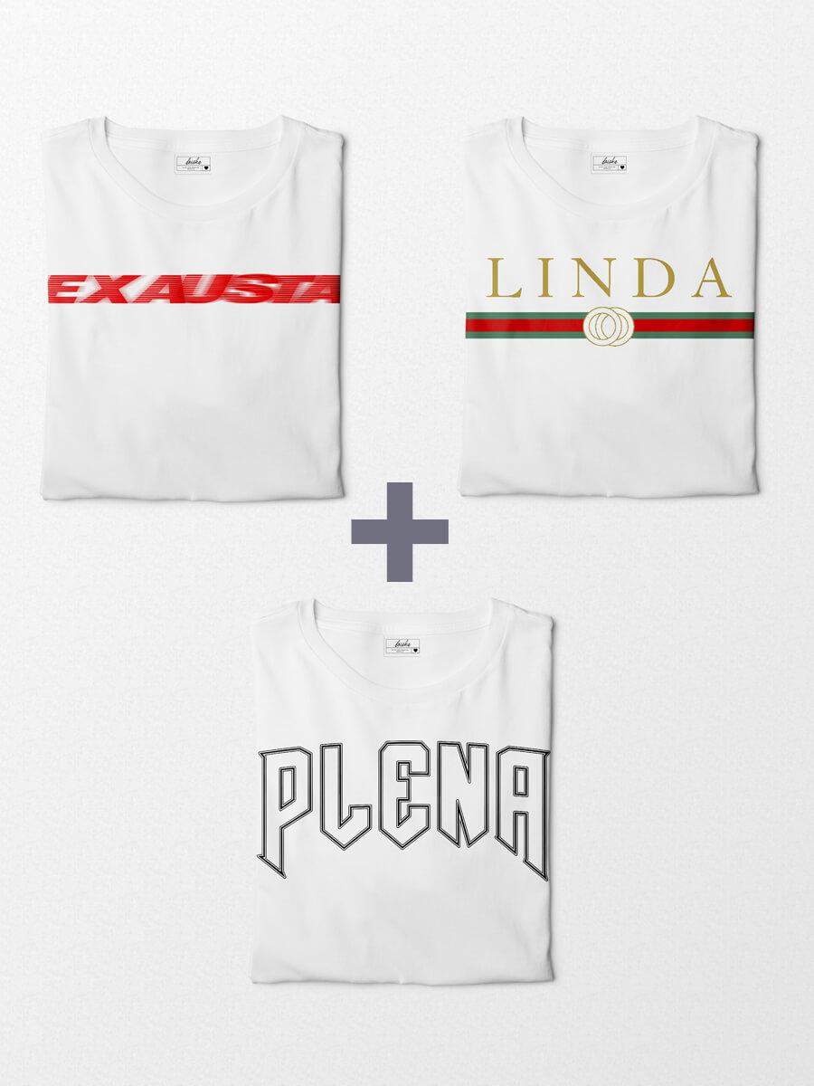 Combo Camisetas Mood - Plena + Linda + Exausta