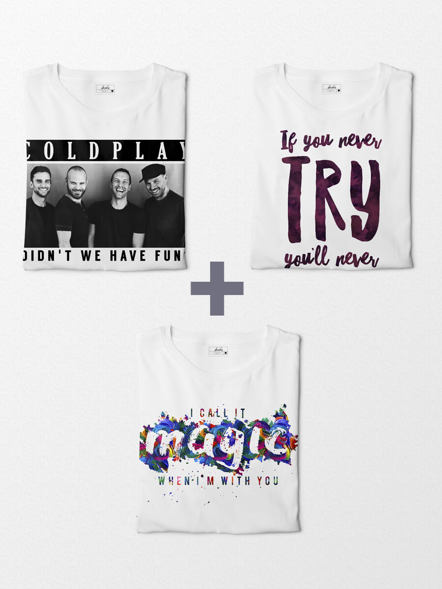 Combo Camisetas Coldplay - Fun + Magic + Try
