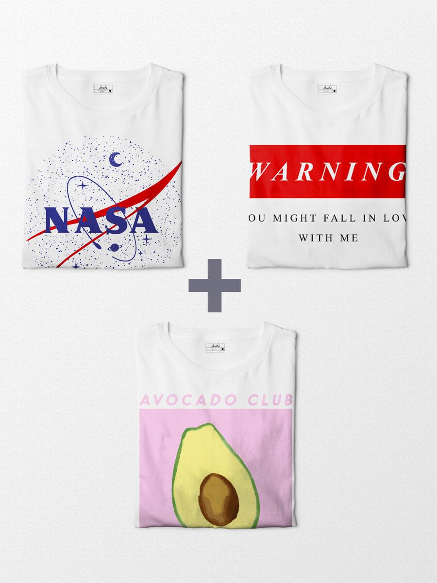 Combo Camisetas Tumblr Girl - Avocado Club + Warning + Nasa