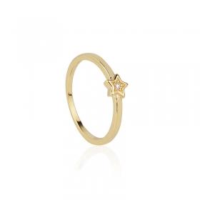 Anel estrela com zircônia banho de ouro