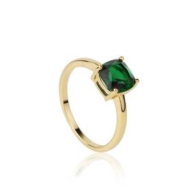 Anel solitário pedra quadrada verde banho de ouro