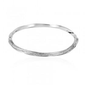 Bracelete torcido cravejado ródio branco