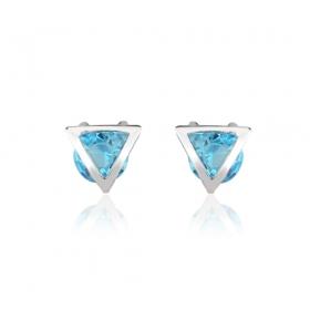 Brinco cristal triângulo azul ródio branco