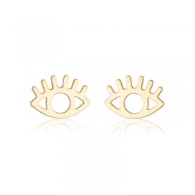 Brinco delicado olho grego banho de ouro