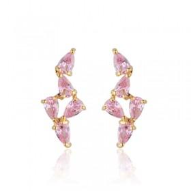 Brinco ear cuff delicado pedras rosas banho de ouro 18k