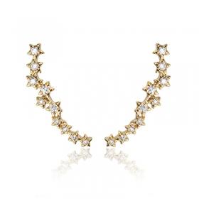 Brinco Ear Cuff Estrelas Cravejadas Milliá Banho Ouro
