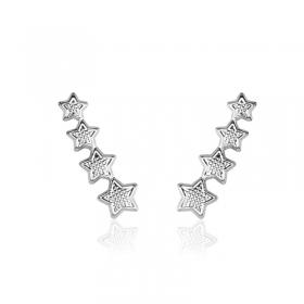 Brinco Milliá Ear Cuff Estrelas Delicadas e Banho Ródio Branco