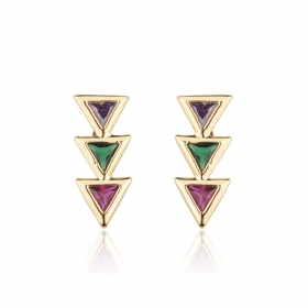 Brinco Milliá Ear Cuff Triângulos Coloridos Banho Ouro