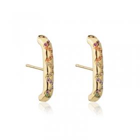Brinco Ear Hook Milliá Ziguezague Cristais Coloridos Banho Ouro