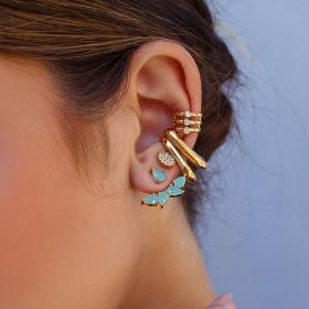 Brinco ear jacket gotinhas cor turmalina banho de ouro