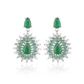 Brinco festa pedras cor esmeralda com raios cristais ródio branco
