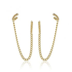 Brinco moderno corrente ear hook com piercing fake dourado