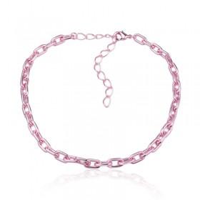 Choker elos metalizados rosa